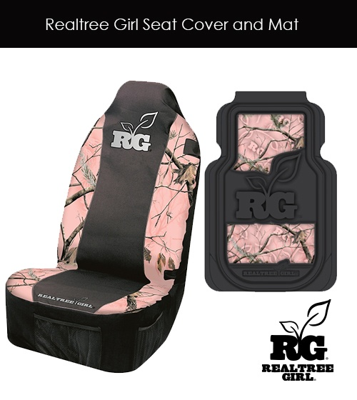 Realtree Girl Pink Camo Seat Cover and Mat #realtreegirl #pinkcamo #seatcover #truckaccessories