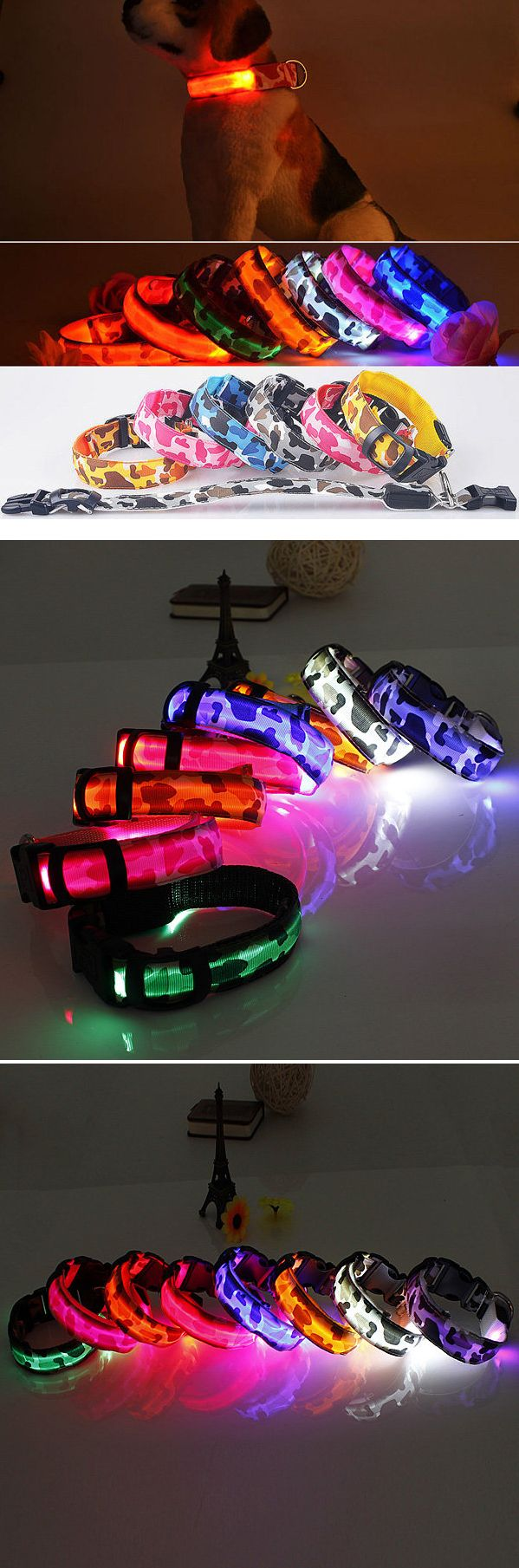US$3.89 Pet LED Safety Light-up Flashing Collar Glow In The Dark Dog Leash Fluorescent L Size