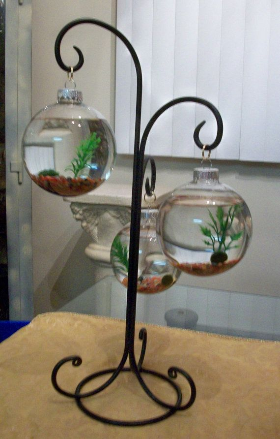 Items similar to Marimo Moss Ball Terrarium, Mixture of small stones, 3 plastic plants, glass christmas bulbs and iron stand. on Etsy