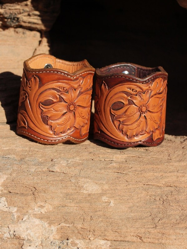 Beautiful leather carved cuffs #modwestern