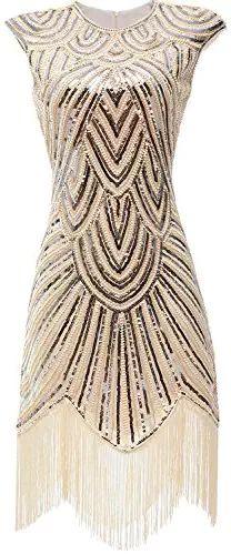 Gatsby Glam-Sequined Cream Flapper Dress