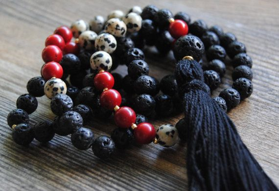 108 Mala necklace, mala beads, yoga necklace, lava rock, red coral, dalmatian jasper, long tassel necklace by IskraCreations