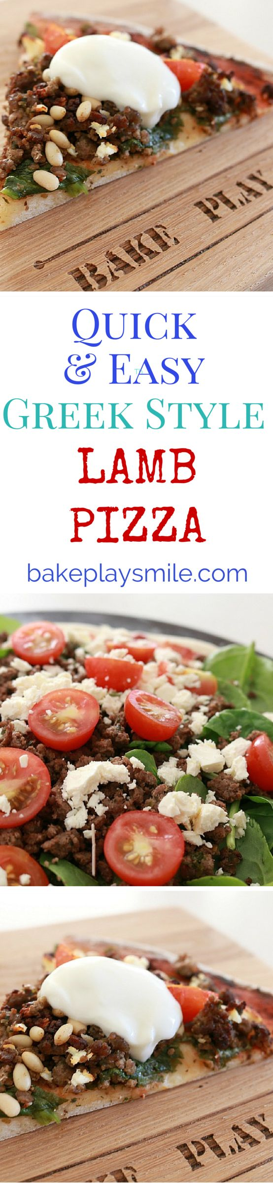 Greek Lamb Pizza made with lamb mince, feta cheese, cherry tomatoes, baby spinach, pine nuts and a yoghurt sauce.