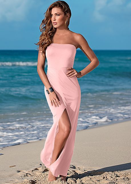 Light Pink Maxi Dress With Slit from VENUS