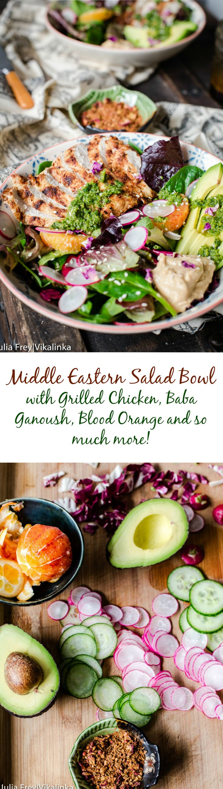This Middle Eastern inspired salad with aromatic grilled chicken breast, avocado, baba ganoush and zesty zhoug dressed with pomegranate vinaigrette will make for a healthy and delicious meal!