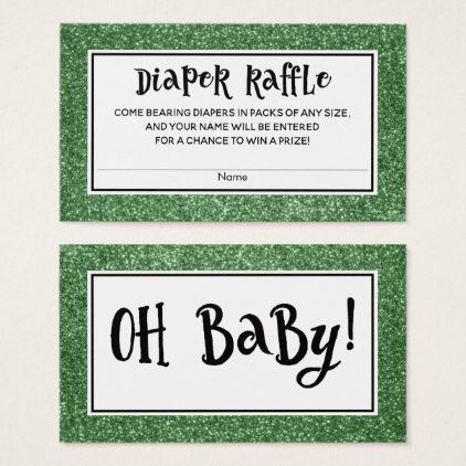 Green Glitter Baby Shower Diaper Raffle Cards - diy cyo personalize design idea new special custom