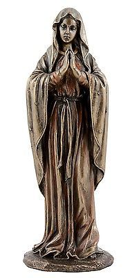 Veronese-Bronze-Figurine-Religious-Our-Lady-Mother-Mary-Praying-small-Statue