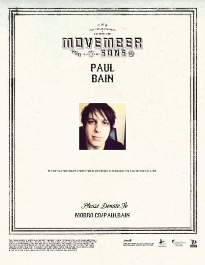 Head to mobro.co/paulbain to donate to my stupid moustache face and help mens health!!