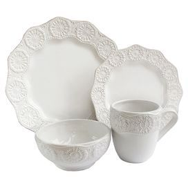 """Four earthenware dinner plates, salad plates, bowls, and mugs.   Product: 4 Dinner plates4 Salad plates4 Bowls4 Mugs Construction Material: EarthenwareColor: White        Features:   Country-chic style    Brings elegant style to the table   Dimensions: Dinner Plate: 10.75"""" Diameter eachSalad Plate: 8"""" Diameter eachBowl: 6.25"""" Diameter eachMug: 4"""" Diameter each"""