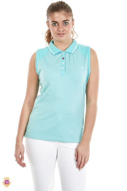 Sherwood Forest Hainstone SF-LE-2937 Aqua Jersey/Spandex  - Delicate strip, 4 button front & SF embroidery