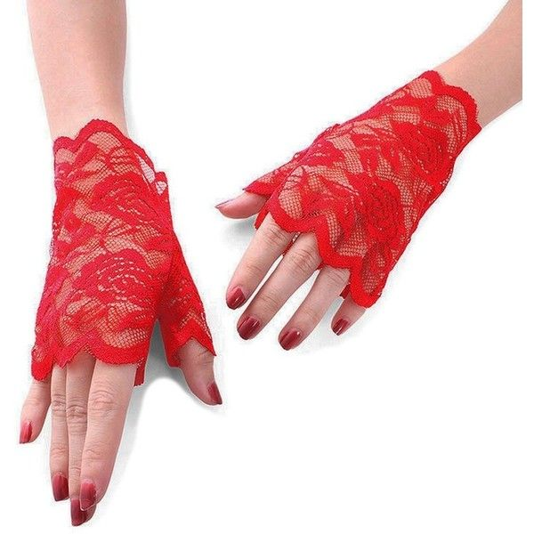 Gauss Kevin Lace Gloves UV Protection Fingerless Gloves Wrist Length... ❤ liked on Polyvore featuring accessories, gloves, red gloves, party gloves, uv protection gloves, fingerless evening gloves and evening gloves