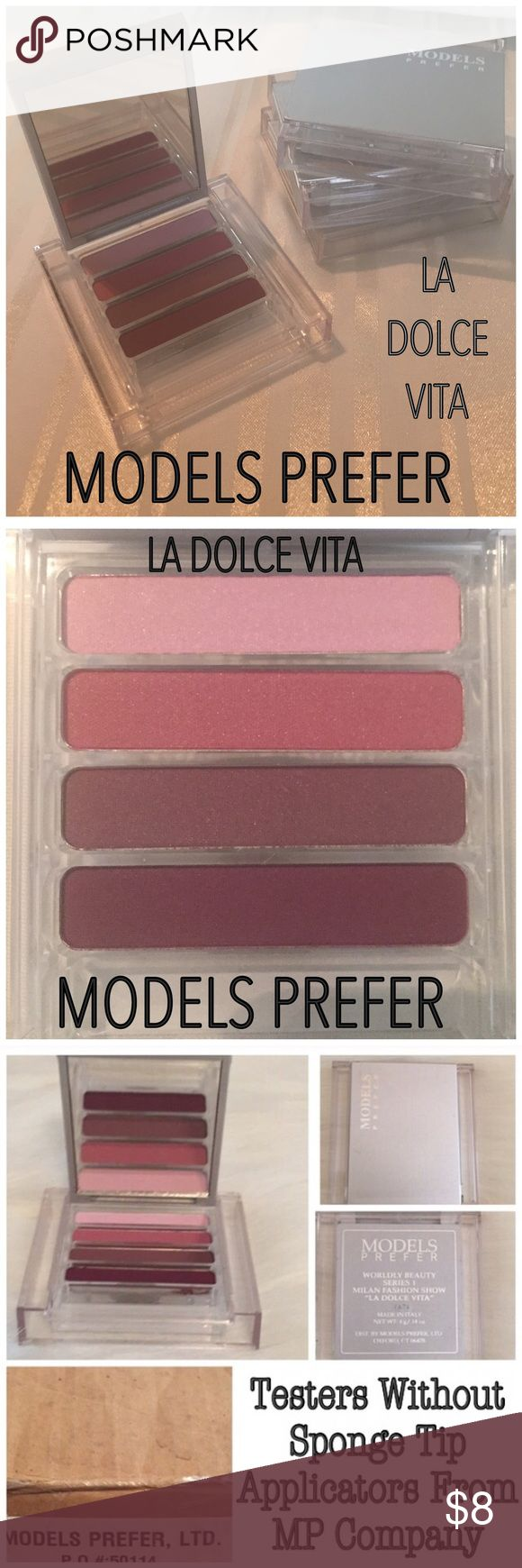 Models Prefer La Dolce Vita Quad Eyeshadow Palette Includes One Palette. Colors are: Pink, Mauve, Purple & Deep Purple. The deep purple can be used as eyeliner! I have several that were testers from MP company. No eyeshadow sponge applicator. I will throw one in but using good eyeshadow brushes always work better! No Trades. Price is Firm. Please Note: *Some makeup packaging may be scratched & boxes/cards may be missing or damaged, those are checked to ensure they haven't been swatched. All…