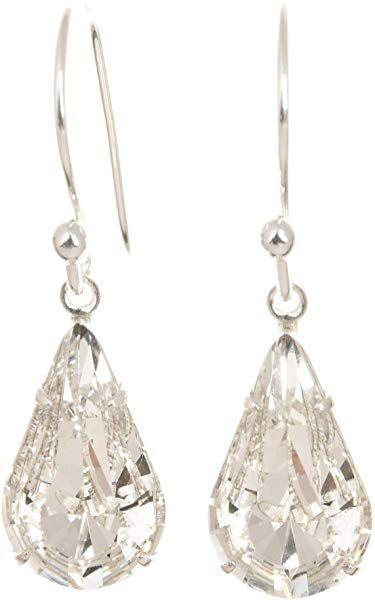 a073bff51 pewterhooter 925 Sterling Silver drop earrings made with teardrop Diamond  White crystal from SWAROVSKI® London Box: pewterhooter: Amazon.co.uk:  Jewellery