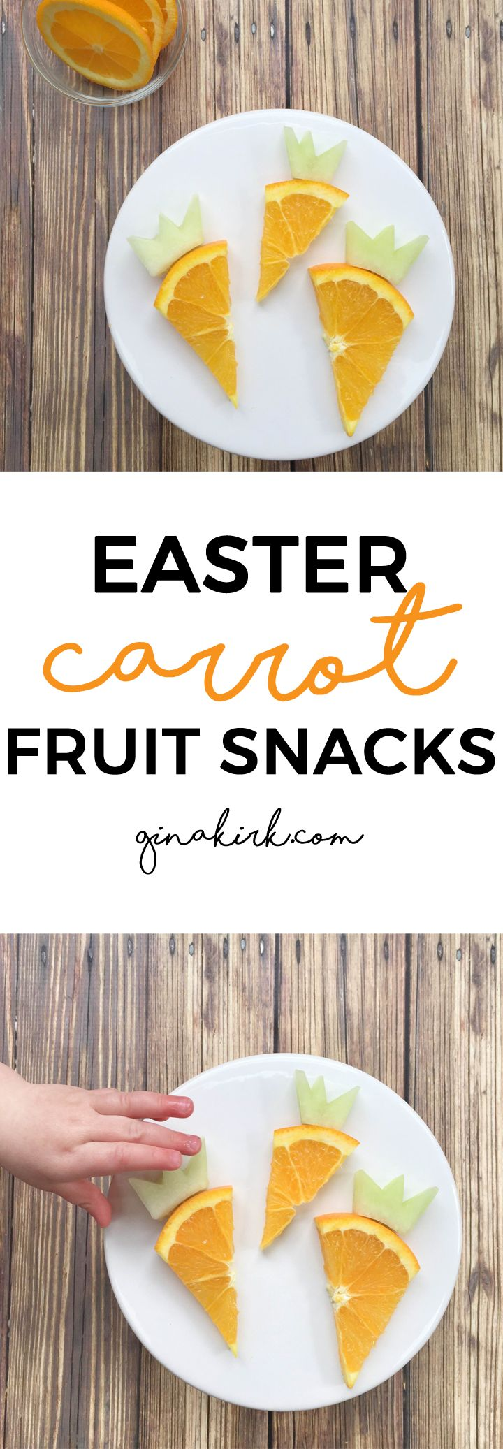 Easter carrot fruit snacks | Easter treat recipe tutorial | Toddler Easter idea | Carrot shaped breakfast idea | GinaKirk.com @ginaekirk