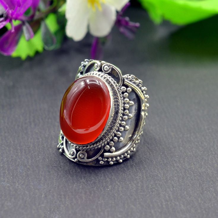 925 Solid Sterling Silver Red Onyx Gemstone Handmade Mens Ring Size 6.75 US R536 #Handmade #Cluster #Party