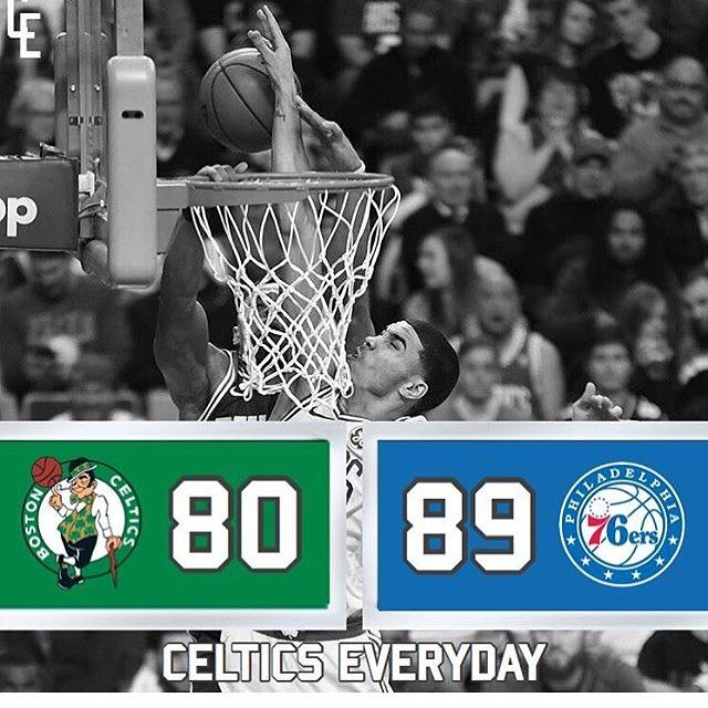 Final in Boston   @Celtics.everyday  - Terrible game for us today shows how much Kyrie means to us. Way to many turnovers that game for both teams. Despite not having Kyrie we did have our chances today and there is not really an excuse for losing. - #Celtics #BostonCeltics #USA #Green #18in18 #BleedGreen #sixers #76ers #NBA #Basketball #Hoopsnation