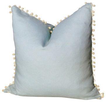 Linen Pillow Cover, Sky Blue with Off-White Pom-Pom Trim - transitional - Decorative Pillows - PillowFever