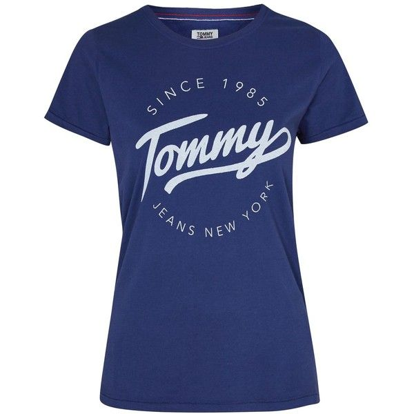 T-Shirt by Tommy Jeans (€45) ❤ liked on Polyvore featuring tops, t-shirts, navy, sports t shirts, logo t shirts, navy blue tee, navy t shirt and cotton crew neck t shirts