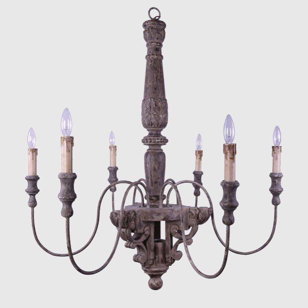 6 Light Wood and Metal Chandelier