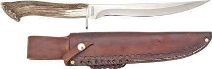 Silver Stag Alaskan Camper Hunting Knife D2 Tool Steel Crown Burr Handle. D2 Tool Steel Blade 11 inches long. Genuine Crown Burr Deer or Elk Antler Handle. Hand laced high quality leather sheath with shoulder strap. Overall Length approximately 17 inches. Lifetime Warranty Made in U.S.A.