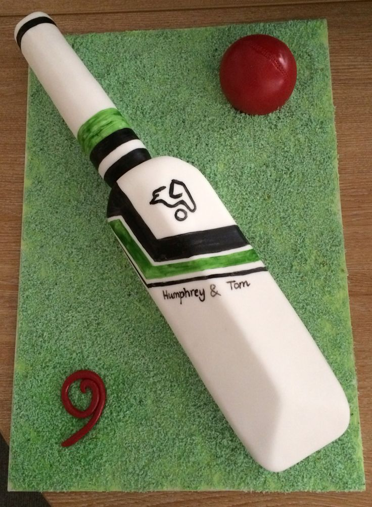 Cricket bat, boys birthday cake, by Ruth at Hampshire.bakery@gmail.com