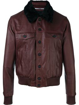shearling collar bomber jacket