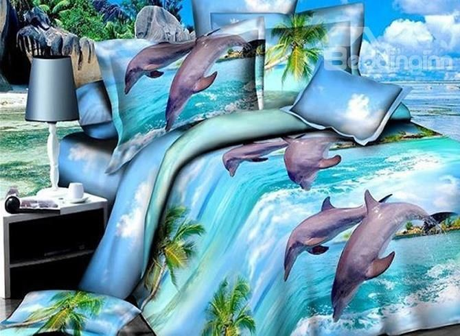 Jumping #Dolphins Beach Scenery Print 4-Piece Polyester Duvet Cover Sets #bedding #3d #bedroom
