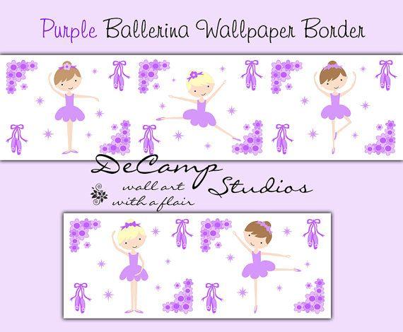 BALLERINA WALLPAPER BORDER Purple Wall Decals Baby Girl Ballet Dance Nursery Room decor #decampstudios
