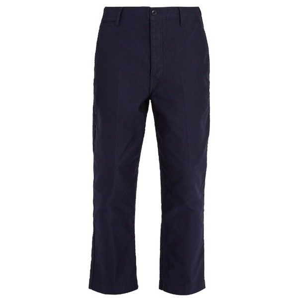 Lemaire Carrot-fit cotton-twill chino trousers ($338) ❤ liked on Polyvore featuring men's fashion, men's clothing, men's pants, men's casual pants, navy, mens loose fit pants, mens loose fit cargo pants, mens navy blue pants, mens chino pants and mens chinos pants
