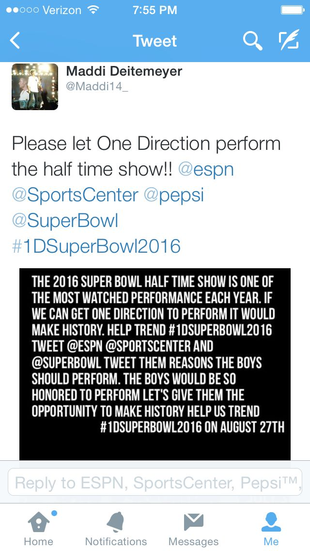 Hello fam! So on August 27th we are going to spam ESPN, Super Bowl, Sportscenter & Pepsi! We want the boys to perform at the half time show in the super bowl! Tweet them now about it, but remember AUGUST 27th to really spam them!! Spread the word! :))