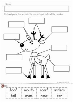 Christmas Math & Literacy Worksheets & Activities for Kindergarten. Lots of fun, interactive, no-prep pages for December. A page from the unit: Label the Reindeer cut and paste