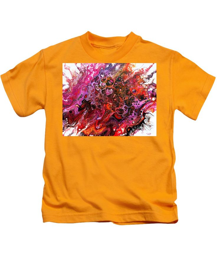 Original Abstract Fluid Art Canvas Organic Feeling Explosion Of Bright Vibrant Happy Pinks Oranges Yellows Purple And Dramatic Black Lacy Pattern Of Orbs Contemporary Dynamic And Fun Tendrils Kids T-Shirt featuring the painting #805 A Color Blast by Expressionistart studio Priscilla Batzell