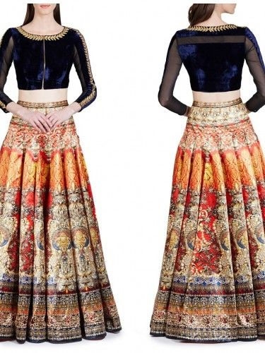 Embroidered Neckline Choli With Digital Printed Lehenga. - Buy Multi Colour Tafetta Printed Lehenga For only Rs.2,762 from Godomart Online Shopping Store India. Shop Online for Best Lehenga Collection Only at Godomart.com