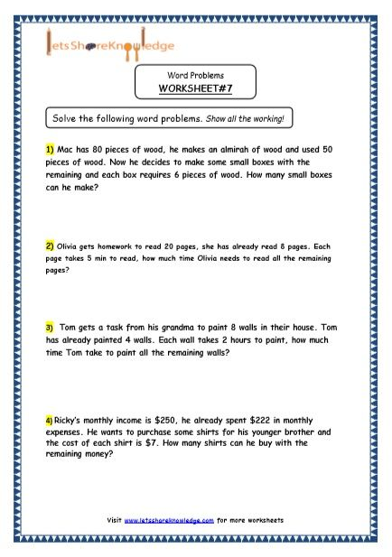 Grade 4 Maths Resources 2 Step Word Problems Printable Worksheets Lets Share Knowledge Word Problems Word Problem Worksheets Free Printable Math Worksheets