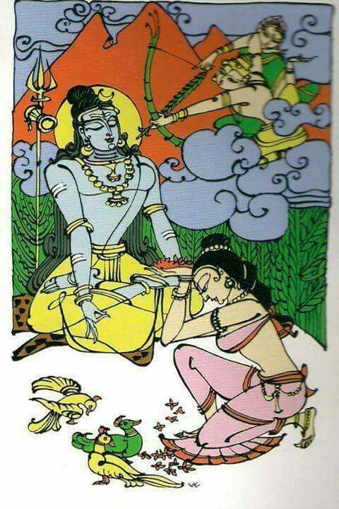 . Parvati worshipping Shiva,while Kamadev attempting to shoot the dart of love at Shiva....