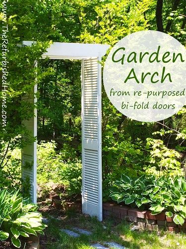 repurposed bifold doors become a pergola style garden arch in just a few easy - Garden Trellises