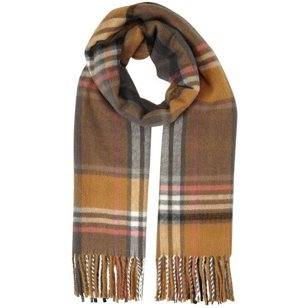 Miss Selfridge Camel/Pink Check Scarf found on Polyvore featuring accessories, scarves, assorted, pink shawl, checkered scarves, pink scarves and miss selfridge
