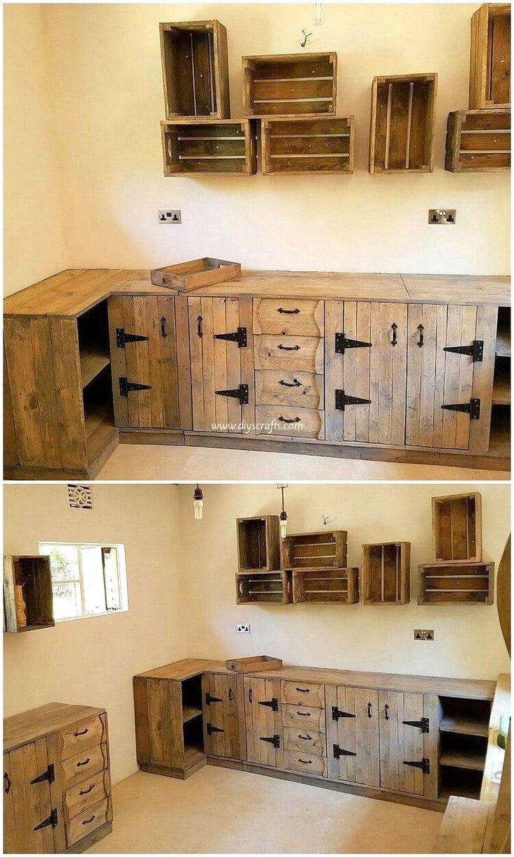 Kitchen Diy Pallet Design Ideas In 2020 Pallet Kitchen Cabinets Wood Furniture Plans Pallet Kitchen