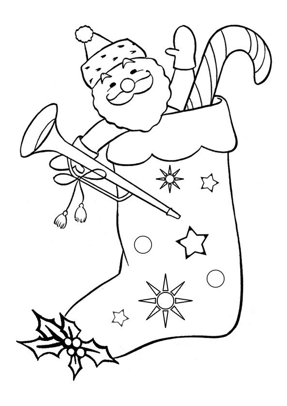 Santa Toys On Christmas Stocking Coloring Pages For Kids Printable