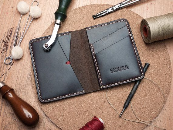 Personalized Leather Bifold Wallet Horween Chromexcel Ox by SHKIRA, $50.00