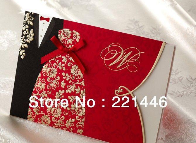 卸売送料無料!! 新郎新婦100pcs/lot赤い結婚式の招待状のかわいいリボン付き