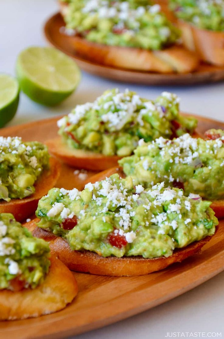 Swap the tortilla chips for garlicky toasts with this top-rated recipe for fast and fresh Guacamole Bruschetta.