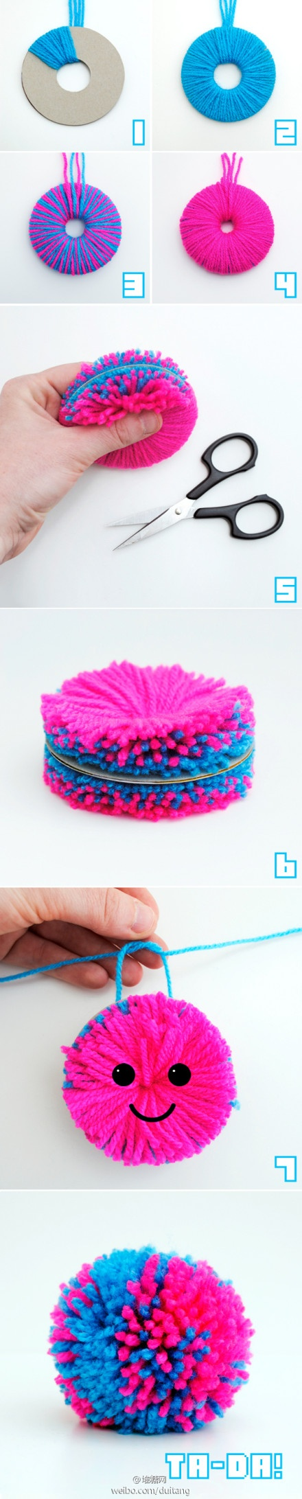 DIY pom poms - I love  making these because they're so fun to make for a project and so colorful!