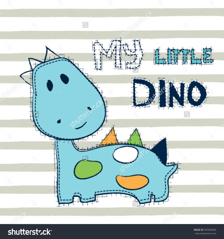 cute dinosaur cartoon, my little dino on striped background, T-shirt graphics for kids vector illustration