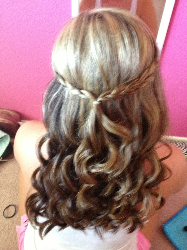 Half Up Half Down Hair Curled With Braid Homecoming