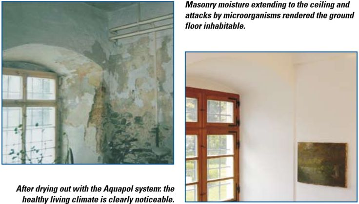 Masonry moisture extending to the ceiling