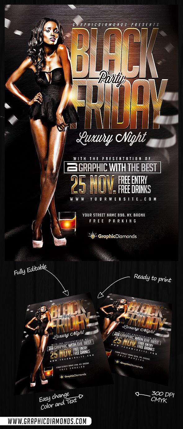 Black Friday Party Flyer PSD by GraphicDiamonds on Creative Market