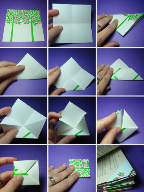 Easy origami bookmarks made from vintage greeting cards.