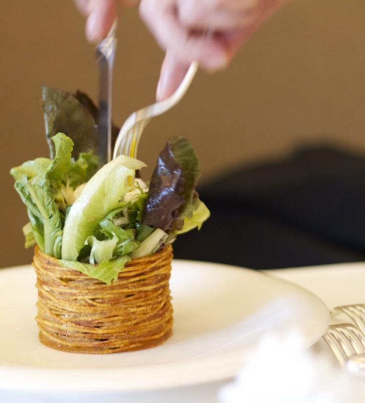 Salad w a poached egg in crispy potato bowl @619Blackbird in Chicago