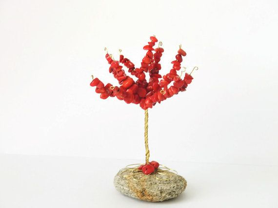 Red coral beaded tree